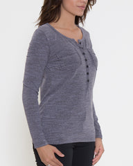 WENS Apparel Dawson Henley Top in Color Grey