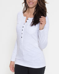 WENS Apparel Dawson Henley Top in Color White