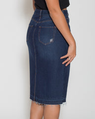 WENS Apparel Kendall Denim Midi Skirt in Indigo Blue