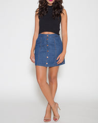 WENS Apparel Janet Denim Mini Skirt in Indigo Blue