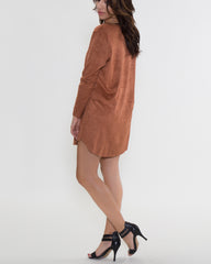 WENS Apparel Eileen Suede Dress in Color Camel
