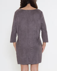 WENS Apparel Stella Suede Dress in Color Grey