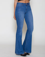 WENS Apparel Jane Flare Denim Jean in color Optimistic Blue