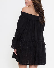 WENS Apparel Kristin Off-Shoulder Dress with bell sleeves in Black