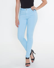 WENS Apparel High Rise Skinny Color Denim in color Sky Blue