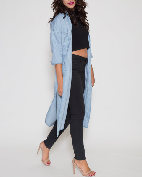 Lola Longline Chambray Button Front Top