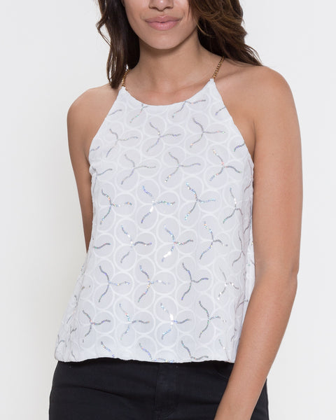 Michelle Top- White/Silver