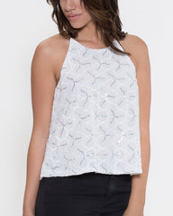 WENS Apparel Michelle Top in Color White/Silver