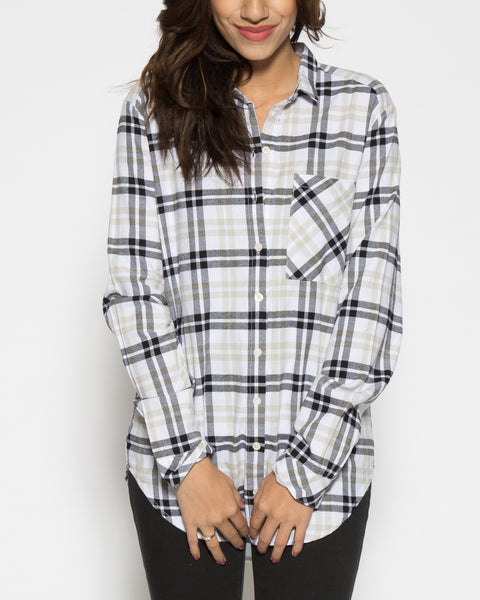 Rue Plaid Tunic- White