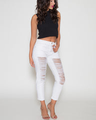 WENS Apparel White Destructed Boyfriend Denim Jean