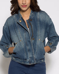 WENS Apparel Denim Bomber Jacket in Vintage Indigo Wash