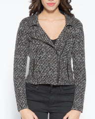 WENS Apparel Brit Knit Moto Jacket in color Black and White