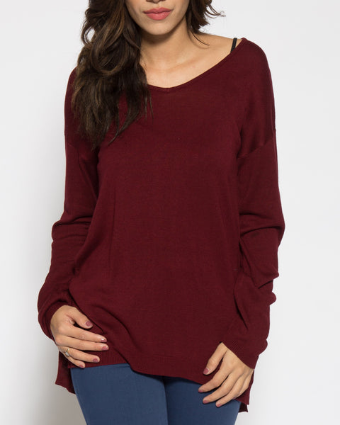 Cabrini Sweater- Maroon