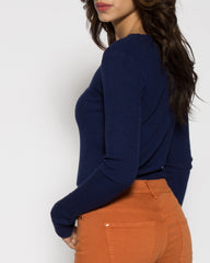 WENS Apparel Lennox Crop Sweater in Color Blue