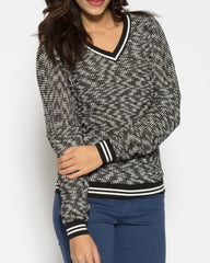 WENS Apparel Montana V-Neck Sweater with Varsity Stripe