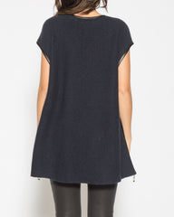 WENS Apparel Point Sweater Poncho Top in Midnight Blue