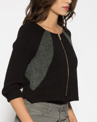 WENS Apparel Women's Black and Grey Zip Panel Sweater Cardigan