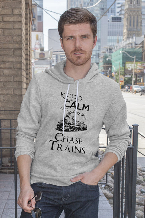 FunkyShirty Keep Calm and Chase Trains (Men)  Creative Design - FunkyShirty