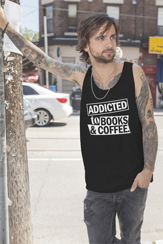 FunkyShirty Addicted to Books & Coffe.(Men)  Creative Design - FunkyShirty
