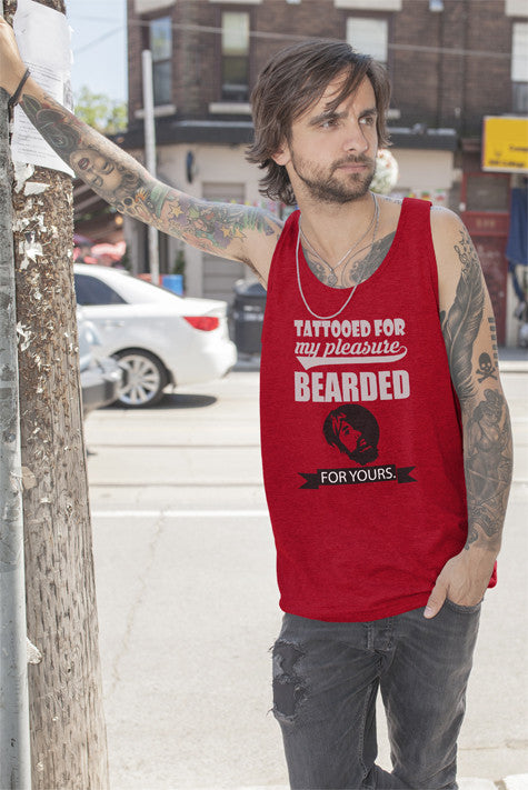 FunkyShirty Tattooed for my Pleasure Bearded For Yours  Creative Design - FunkyShirty
