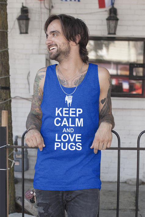 FunkyShirty Keep Calm and Love Pugs (Men)  Creative Design - FunkyShirty