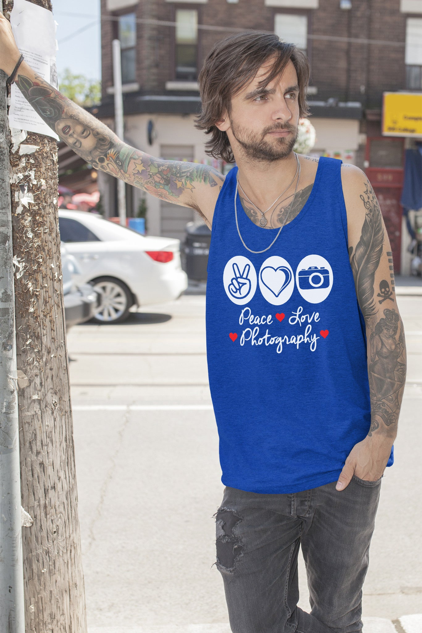 FunkyShirty Peace Love Photography (Men)  Creative Design - FunkyShirty
