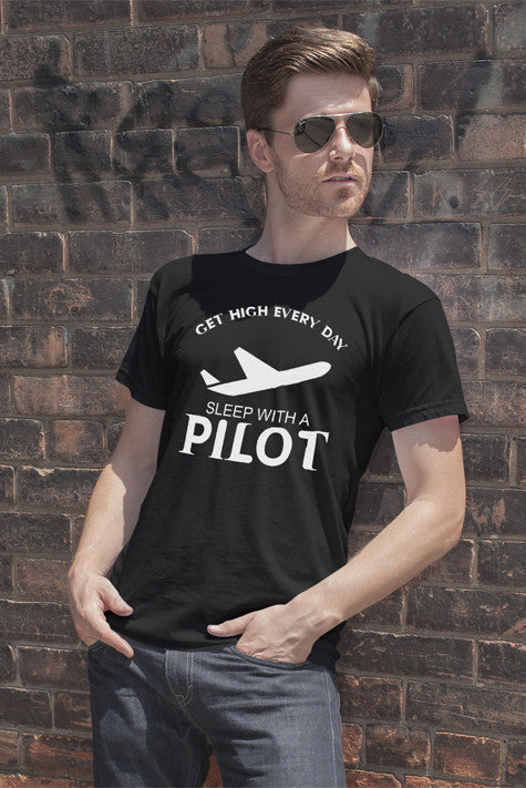 FunkyShirty Get High Every Day sleep with a Pilot (Men)  Creative Design - FunkyShirty