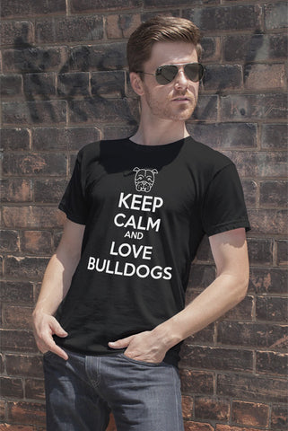 FunkyShirty Keep Calm and Love Bulldogs (Men)  Creative Design - FunkyShirty