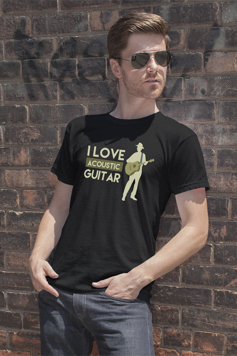 FunkyShirty I Love Acoustic Guitar (Men)  Creative Design - FunkyShirty