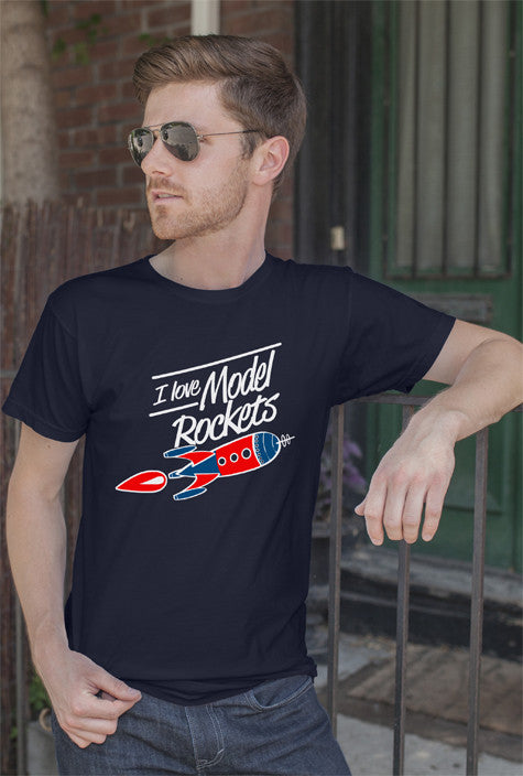 FunkyShirty I Love Model Rockets (Men)  Creative Design - FunkyShirty