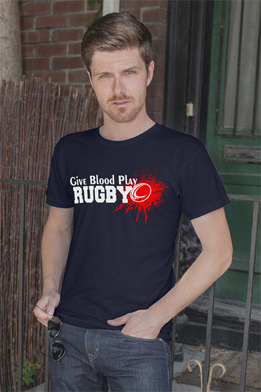 FunkyShirty Give Blood Play Rugby (Men)  Creative Design - FunkyShirty