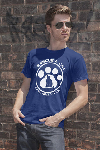 FunkyShirty Rescue a Cat save a nine Lives (Men)  Creative Design - FunkyShirty