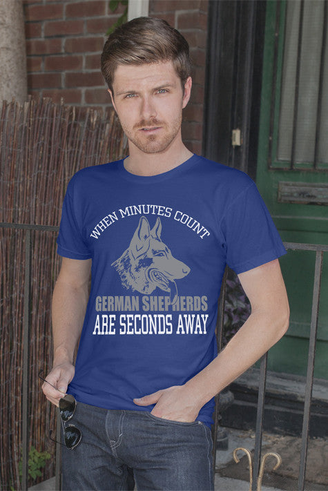 FunkyShirty When Minutes Count German Shepherd are Seconds Away (Men)  Creative Design - FunkyShirty