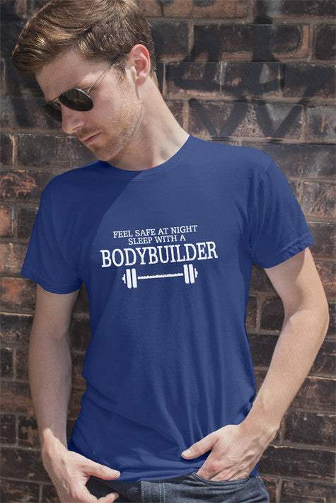 FunkyShirty Feel Safe at Night Sleep With a BOdyBuilder (Men)  Creative Design - FunkyShirty