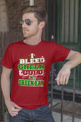 FunkyShirty Bleed Green and Gold-Greenbay (Men)  Creative Design - FunkyShirty
