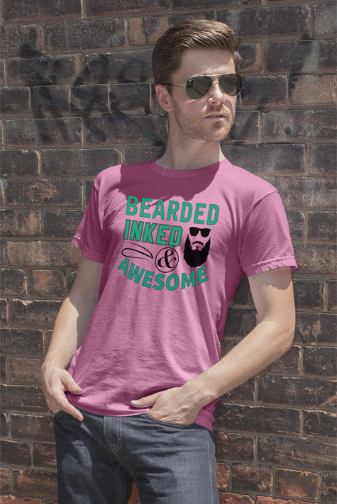 FunkyShirty Bearded Inked & Awesome  Creative Design - FunkyShirty