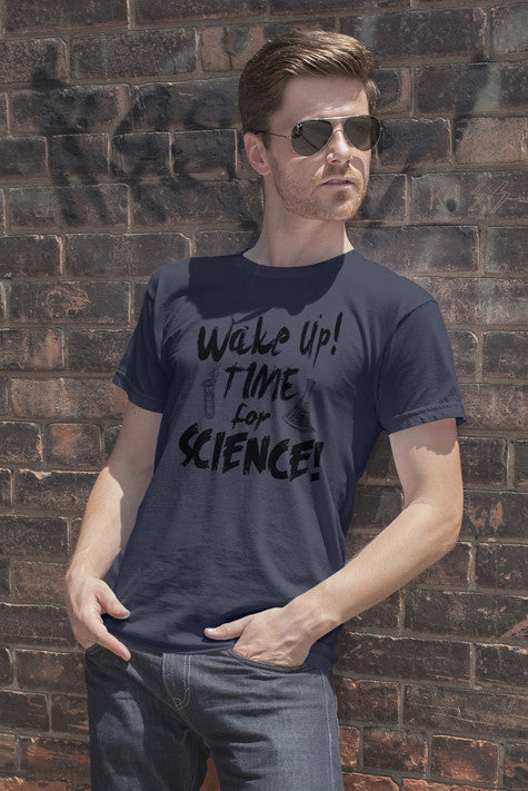 FunkyShirty Wake up,Time for Science (Men)  Creative Design - FunkyShirty