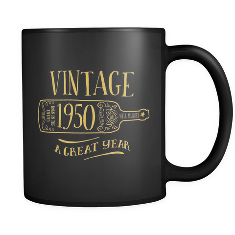 FunkyShirty Vintage 1950 - Black Mug  Drinkware - FunkyShirty