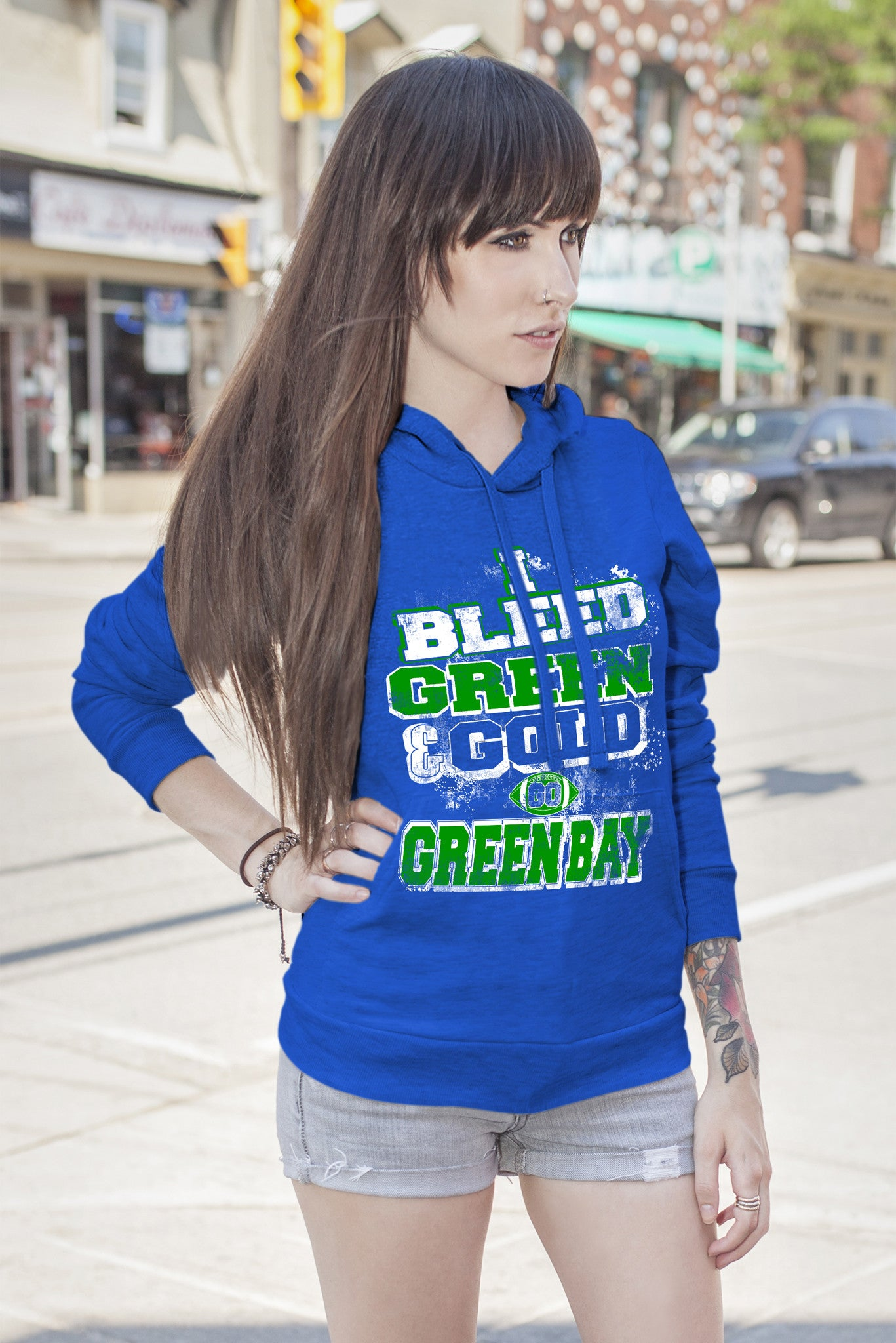 FunkyShirty Bleed Green and Gold-Greenbay (Women)  Creative Design - FunkyShirty