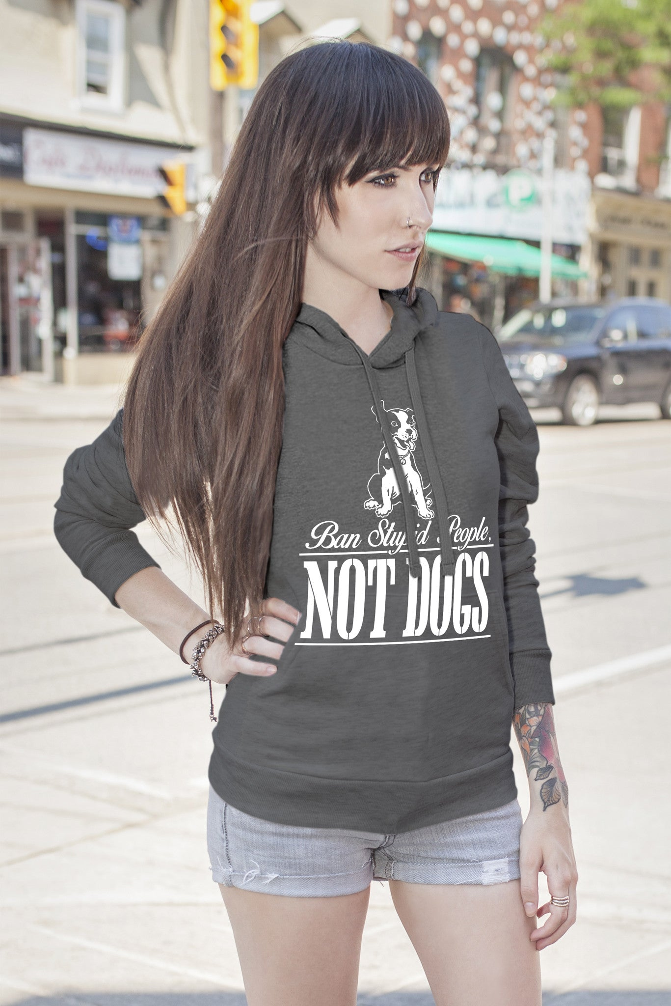 FunkyShirty Ban Stupid People Not Dogs (Women)  Creative Design - FunkyShirty