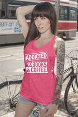 FunkyShirty Addicted to Books & Coffee (Women)  Creative Design - FunkyShirty
