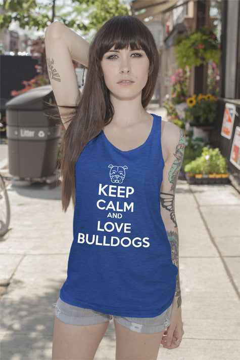 FunkyShirty Keep Calm and Love Bulldogs (Women)  Creative Design - FunkyShirty
