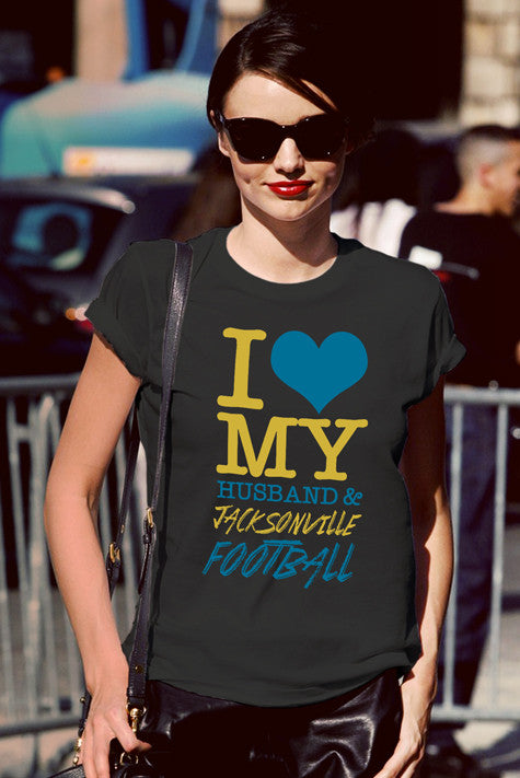 FunkyShirty I love my Husband & Jacksonville Football  Creative Design - FunkyShirty