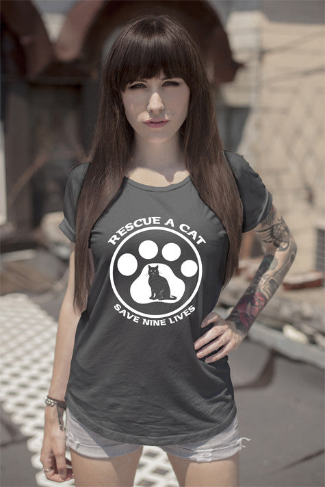 FunkyShirty Rescue a Cat save a nine Lives (Women)  Creative Design - FunkyShirty