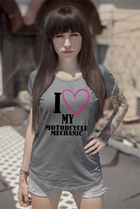 FunkyShirty I Love my Motorcycle Mechanic  Creative Design - FunkyShirty