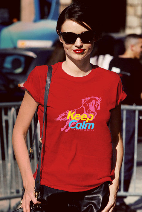 FunkyShirty Keep Calm and Gallop On (Women)  Creative Design - FunkyShirty