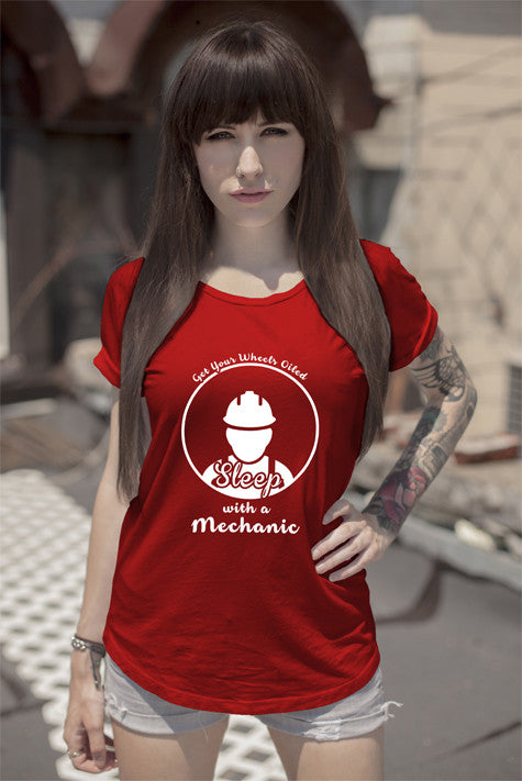 FunkyShirty Get Your Wheels Oiled Sleep with a Mechanic (Women)  Creative Design - FunkyShirty