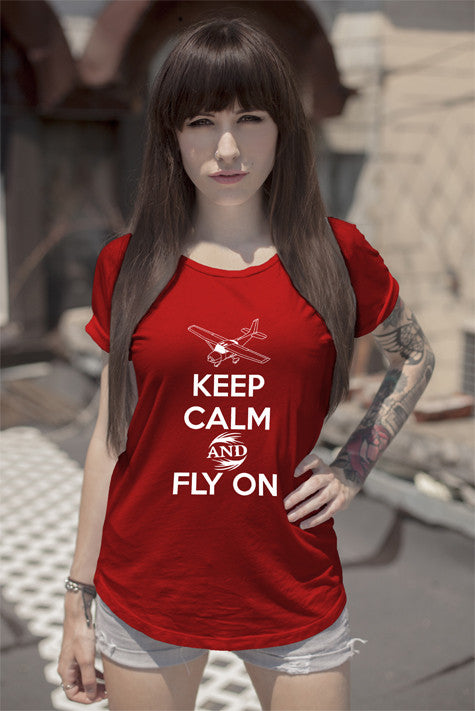 FunkyShirty Keep Calm and Fly On (Women)  Creative Design - FunkyShirty