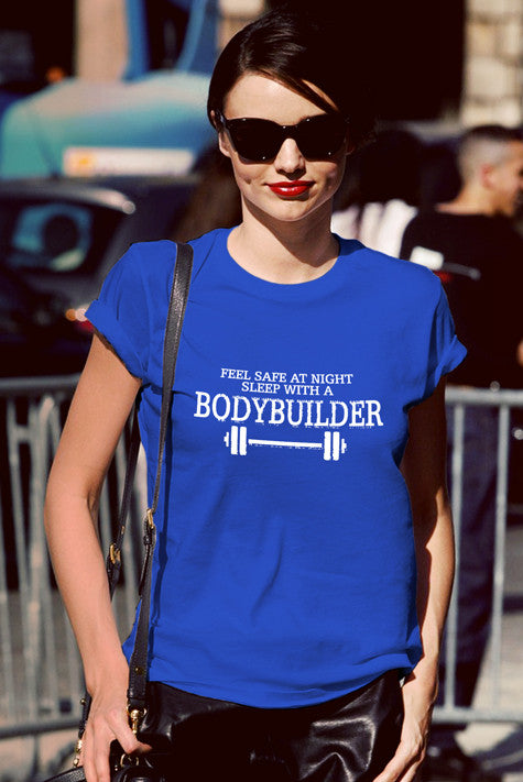 FunkyShirty Feel Safe at Night Sleep With a BOdyBuilder (Women)  Creative Design - FunkyShirty