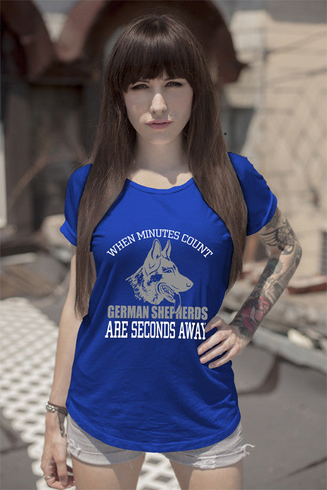 FunkyShirty When Minutes Count German Shepherd are Seconds Away (Women)  Creative Design - FunkyShirty